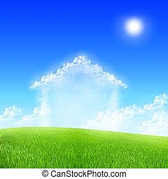 hus, i, skyer, ind, den, blå himmel