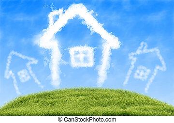 hus, i, skyer