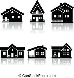 hus, icons.