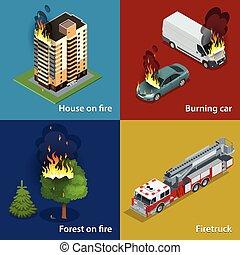 hus, ild, brændende, automobilen, skov, ild, firetruck., ild, undertrykkelse, og, offer, assistance., isometric, vektor, illustration, by, infographics