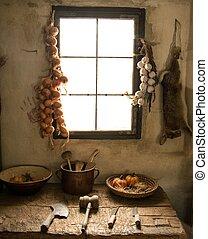 hus, insida, kök, lantlig