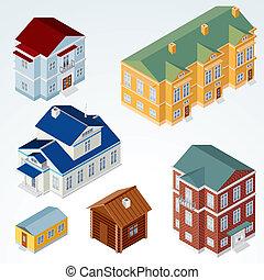 hus, isometric, vektor, #1