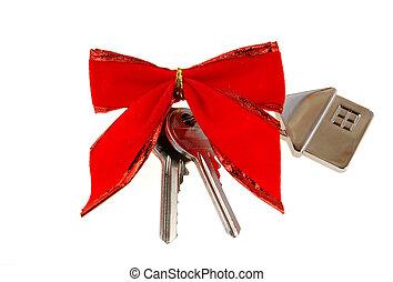 hus, jul, färsk, present: