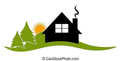 hus, kabine, indgive, ikon, logo