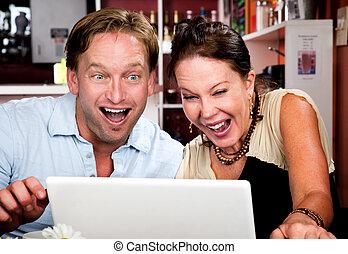 hus, kaffe, dator, par, laptop