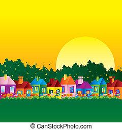 hus, karikatyr, bakgrund