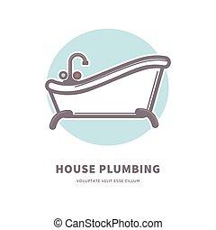 hus, keramisk, kommersiell, logotype, bad, rörarbete, rymlig