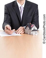 hus, kontrakt, bag efter, arkitektoniske, tegn, business-man, model