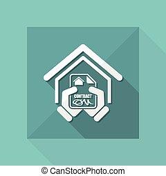 hus, kontrakt, ikon