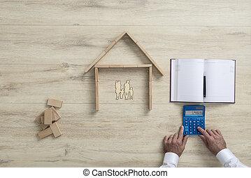 hus, kostar, beräknande, familj, man