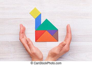 hus, kvarter, skörd, färgrik, räcker