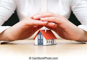 hus, kvinde, belagt, hænder