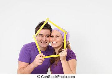 hus, lån, mortgage., eller, första, par, lycklig