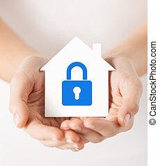 hus, lås, avis, hånd ind hånd
