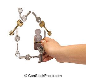 hus, lavede, af, nøgler