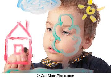 hus, målar, flicka, glas
