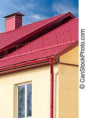 hus, med, färsk, röd, metall, tak