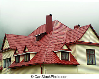 hus, med, röd, tak