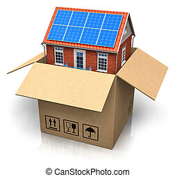 hus, med, sol, batterier, i boxas