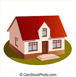 hus, model, dimensioner, familie, tre