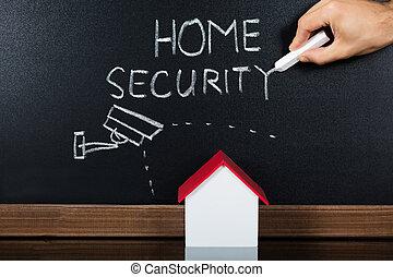 hus, model, hos, security til hjem, begreb, på, sort vægtavle