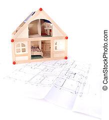 hus, modell, min, plan