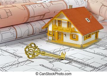 Hus, modell, nyckel, gyllene