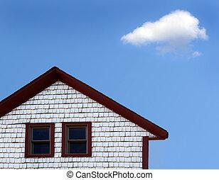 hus, moln
