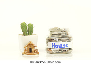 hus, mynter, flaska, pengar