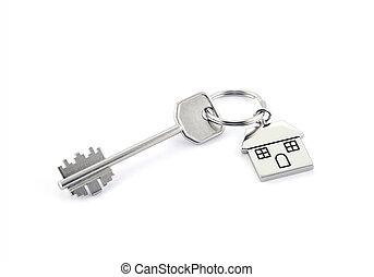 hus nøgle, på hvide, baggrund, hos, udklip sti