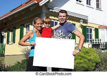 hus, nyligen, familj, köpt