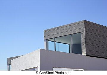 hus, nymodig arkitektur, skörd, detaljerna