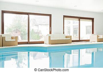 hus, nymodig, slå samman, simning
