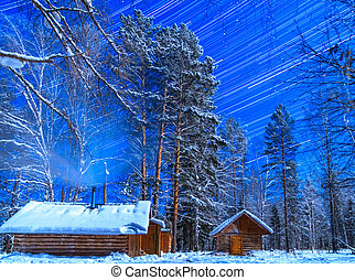 hus, på, a, månbelyst, night., stjärna, återstående tid spåret