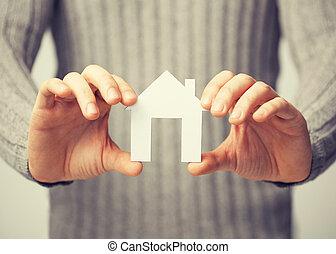 hus, papper, holdingen, man