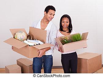 hus, par, bärande lådor
