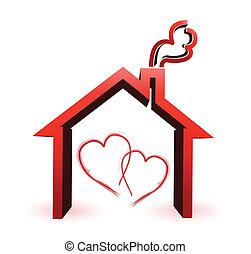 hus, par, konstruktion, illustration, kærlig