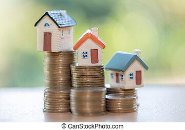 hus, pengar, hus, stack, mini, mynter