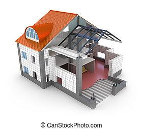 hus, plan, arkitektur, isoleret
