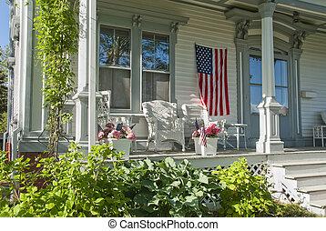 hus, portal, på, 4 av juli