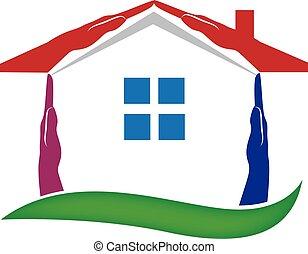 hus, räcker, för, verkligt gods, logo, vektor