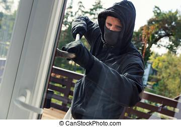 hus, röveri, -, inbrottstjuv, det öppnar, balkong, dörrar, med, kofot