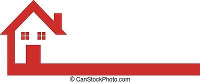 hus, rød, logo