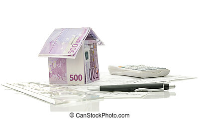 hus, redskapen, teckningar, arkitektonisk, pengar