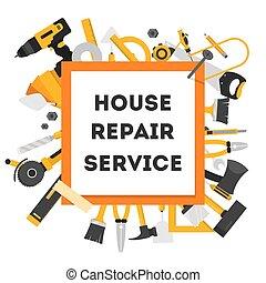 hus, reparera, begrepp, utrustning, banner.