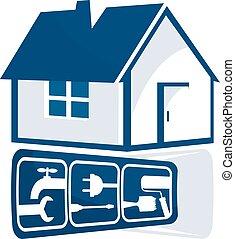 hus, reparera, underteckna