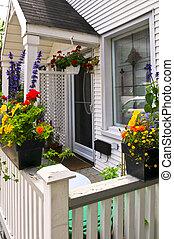 hus, rutor, blomma, portal
