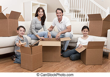 hus, rutor, gripande, familj, uppackning