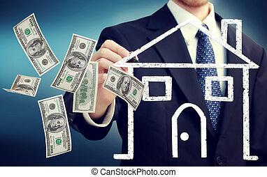 hus, säljande, begrepp, eller, uppköp