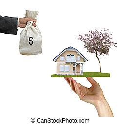 hus, säljande